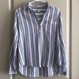 Lightweight Long-Sleeve Linen Striped Top